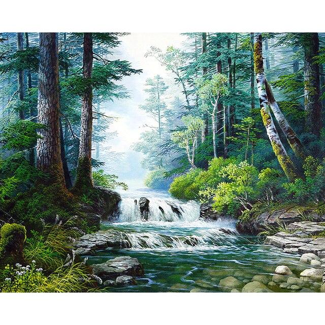 3d Природа Алмазная вышивка полная дрель Алмазная картина лесной водопад 5D DIY Алмазная картина вышивка крестиком горный хрусталь мозаика