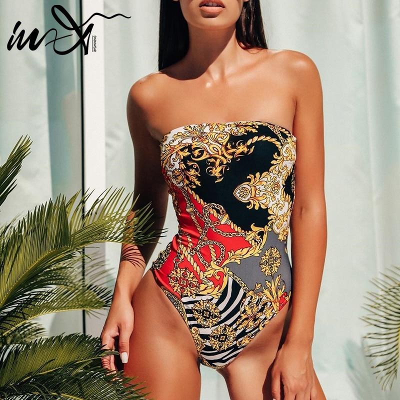 One-Piece Swimsuit Bikini Strapless Push-Up High-Cut Bandeau In-X Print Women Female