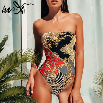 In-X Push up bikini 2019 Print high cut one piece swimsuit strapless female Bandeau sexy swimwear women monokini bathing suit 2
