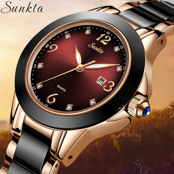 SUNKTA Relogio Feminino Women Watches Waterproof Top Brand Luxury Watch Women With Ceramics And Metal Strap Relojes Para Mujer