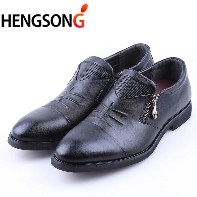 Hengsong Men Dress Shoes Zipper Leather Luxury Fashion Groom Wedding Oxford Business 38