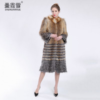 Autumn Winter Luxury X Long Style Real Silver Red Fox Fight Color Fox Fur Coat Natural