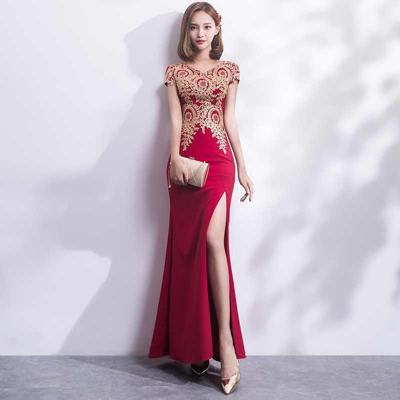 Vestido Cheongsam Femenino Chino Elegante Delgado De Encaje