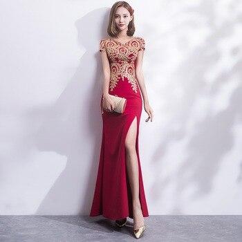 910007bc8 2018 bordado Cheongsam largo tradicional chino Vintage vestido rojo sirena  vestido de novia Sexy Split Qipao vestidos modernos