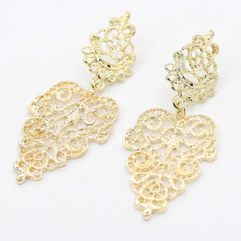 Elegant Gold Silver Hollow Earrings For Women Bohemia Drop Earring Big Leaf Dangle Charm Statement Jewelry Accessory Pendientes