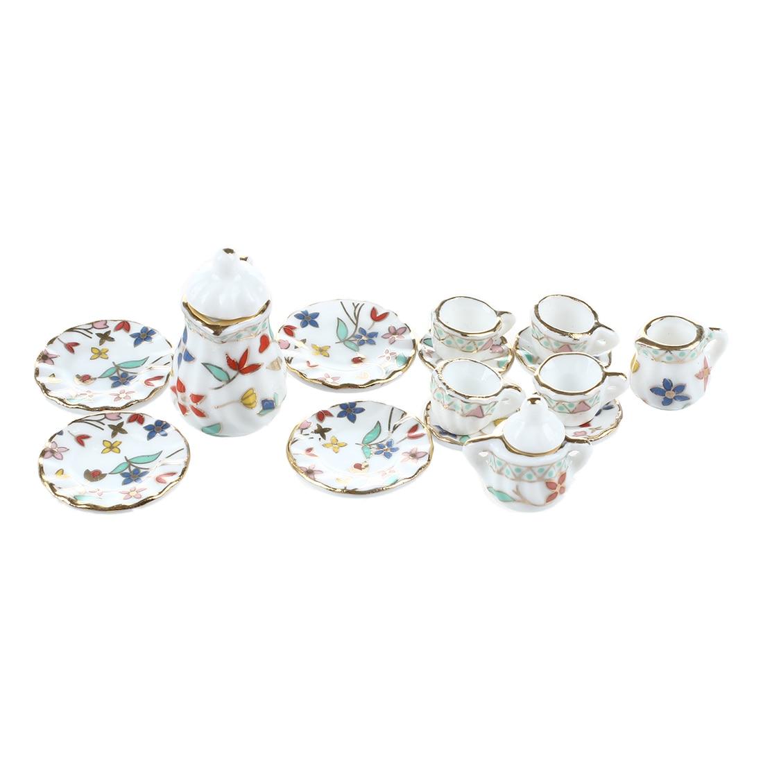 MACH 15 Piece Miniature Dollhouse Dinnerware Porcelain Tea Set Tableware Cup Plate Colorful Floral Print