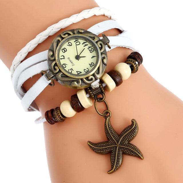 Gnova Platinum Indian ethnic Bracelet Watch  Sea star charm Vintage Genuine Leather wristwatch girl Fashion School A902