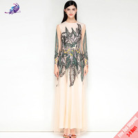 New Fashion Designer Runway Maxi Long Dress High Quality Wonmen's Long Sleeve Mesh Floral Embroidered Party Long Dress Free DHL
