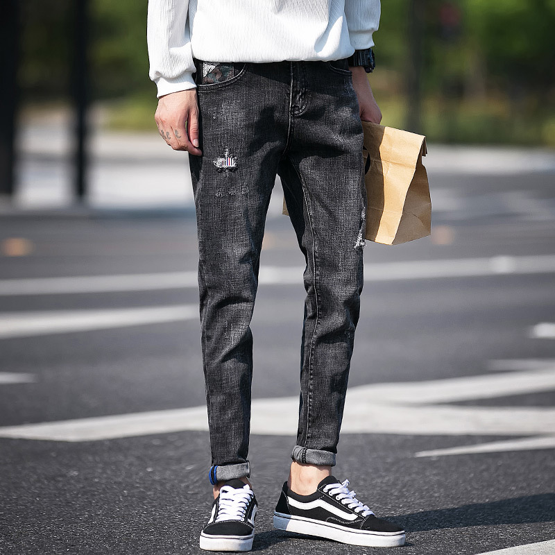2018 spring and summer new personality fashion classic Korean version of the trend of large size mens stretch Slim washed jeans
