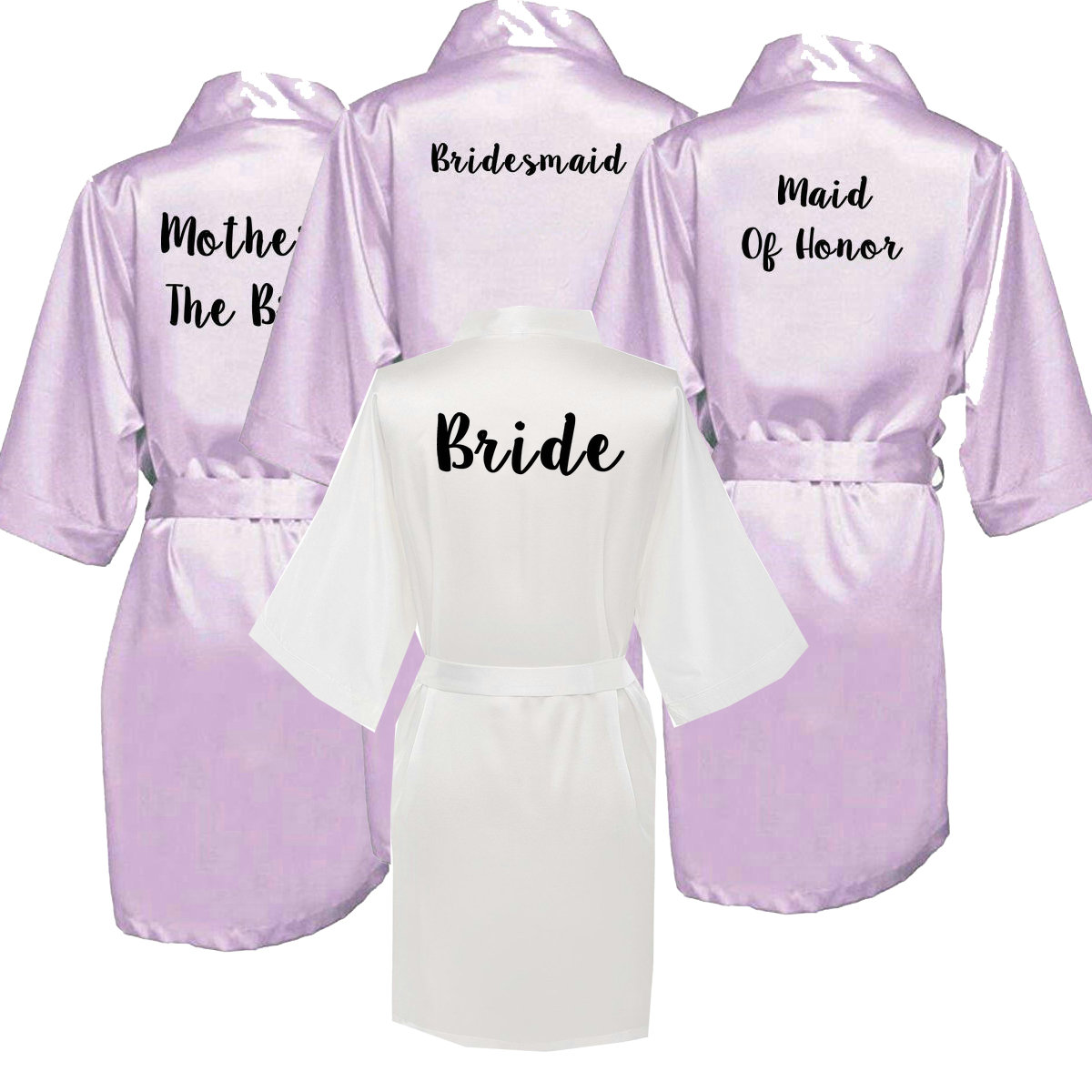 Owiter new bride bridesmaid robe with white black letters mother sister of the wedding gift bathrobe kimono satin robes