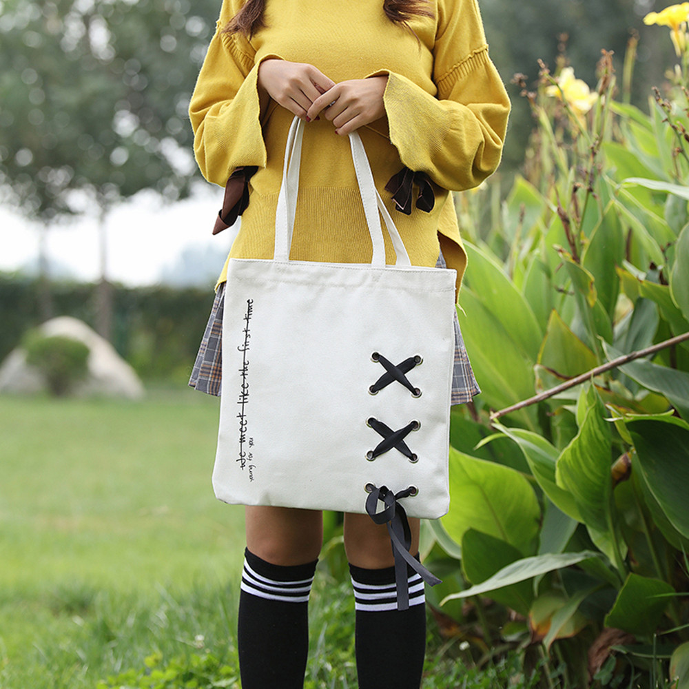 Canvas Handbag Leisure Drawstring Shoulder Bags Large Ladies Beach Bag Canvas Tote Shopping Handbags