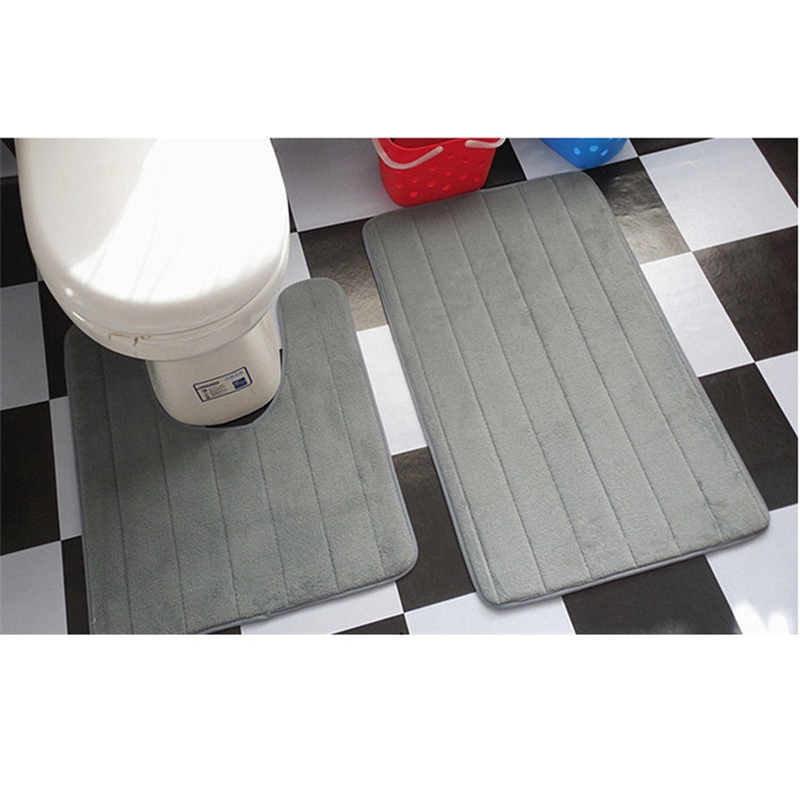 2 Pcs Simple Bathroom Mat Set U Shape Bathroom Carpet Toilet Rugs Non-Slip WC Mat High Water Absorbent Bath Rugs Tapete Banheiro