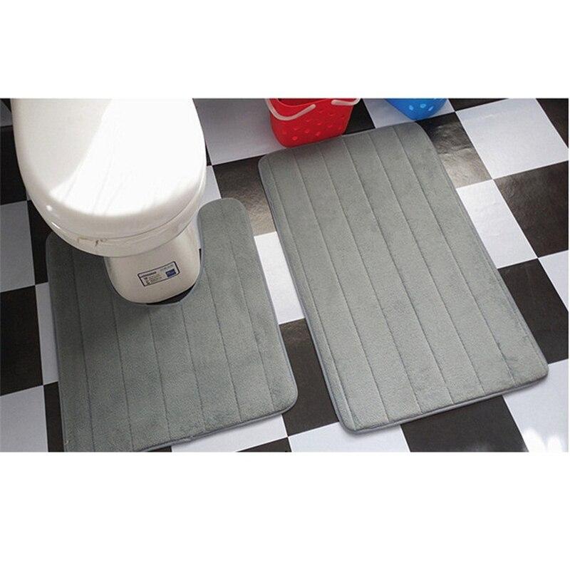 2 Pcs Simples Casa de Banho Tapetes de Banheiro Tapete Higiênico Conjunto Mat U Forma Não-Slip Mat WC Absorvente de Água de Alta tapetes de banho tapete banheiro