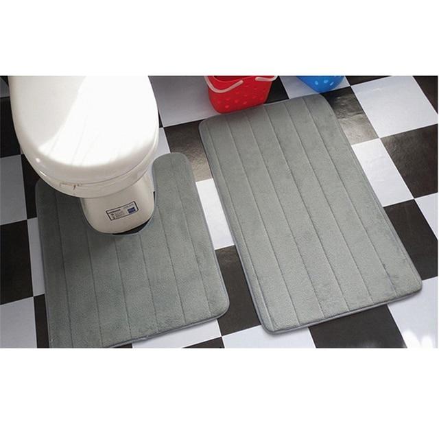 2 Stücke Einfache Badezimmer Mat Set U Form Bad Teppich Wc Teppiche  Rutschfeste WC Matte Hohe
