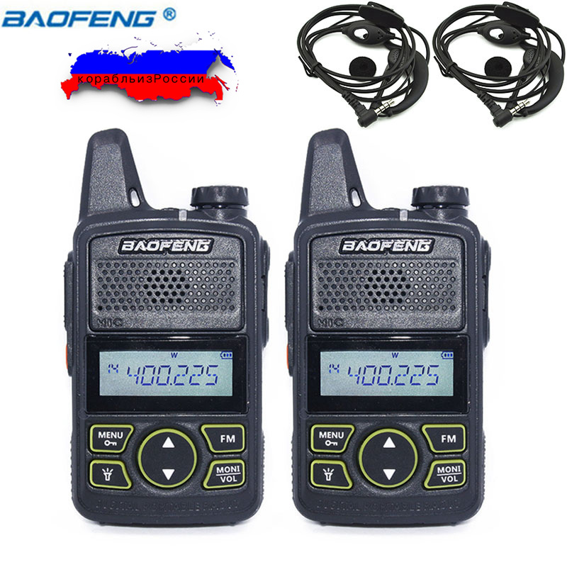2pcs Ptt BAOFENG T1 MINI Two Way Radio BF-T1 Walkie Talkie UHF 400-470mhz 20CH Handheld Transceive For Hotel Restaurant BF T1