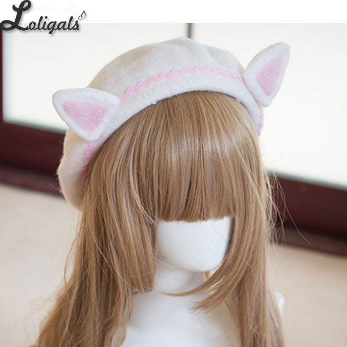 Image 4 - Lovely Womens Cat Ear Berets Cute Mori Girl Wool Berets for Winter Pink WhiteWomens Berets   -