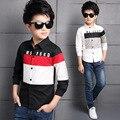 Camisas de marca para niños clothing niños tops carta niños de la escuela blusas Primavera Otoño Embroma la Ropa 4 6 8 10 12 años