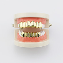 Hip Hop Gold Teeth Grillz Top & Bottom Grills Dental Mouth Punk Teeth Caps Cosplay Party Tooth Wrapper