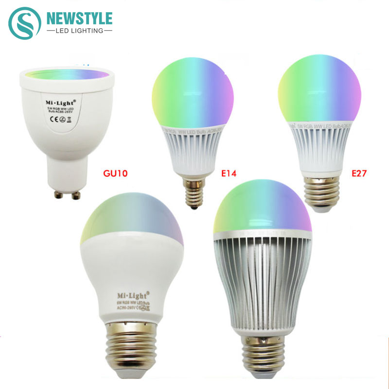 Mi Light LED Bulb Dimmable 2.4G Wireless Led Lamp AC85-265V GU10 E27 4W 5W 6W 8W 9W RGBW/RGBWW Smart Lamp indoor decoration gu10 e14 e27 led bulb mi light 2 4g 4w 5w 6w 8w 9w ww cw rgbw rgbww led lamp intelligent wireless control lamp ac85 265v