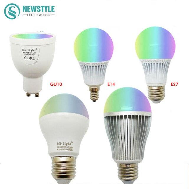 Mi Light LED Bulb Dimmable 2.4G Wireless Led Lamp AC85 265V GU10 E27 ...