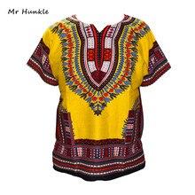 Brand Mr Hunkle 2017 New Design 100% Cotton African Yellow Print Dashiki Clothing Loose Dashiki T-shirt For Men