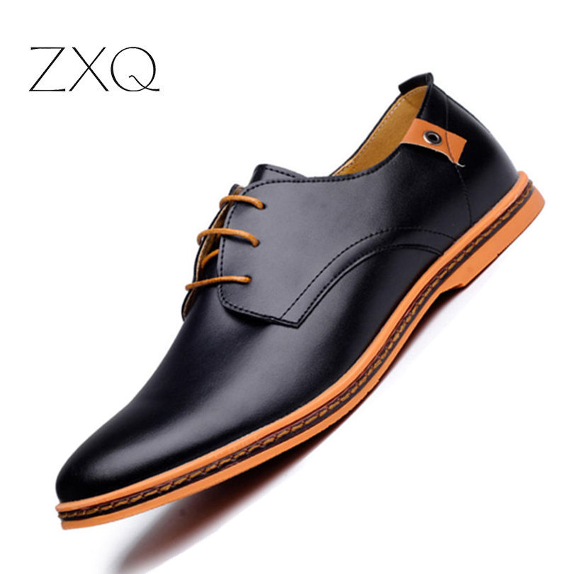 2019 Leather Casual Men Shoes Fashion Men Flats Round Toe Comfortable Office Men Dress Shoes Plus Size 38-48