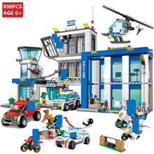 890Pcs City Police Station Command Vehicle SWAT Building Blocks Sets Model Car Policeman Bricks Educational Toys For Children bela pogo compatible legoe 10424 890pcs station helicopter jail cell urban police city building blocks bricks toys for child