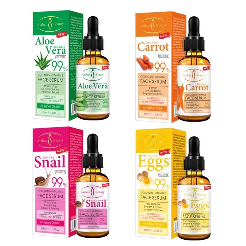 Facial Serum Anti-Aging Moisturizer Whitening Essence Face Firming Skin Care Aloe/Snail/Egg/Carrot aichun beauty skin care face scrum