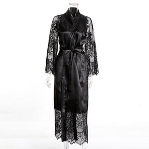 Image 5 - Plus size Sexy Pajama Dress Lingerie with Robe Long Sleeve Lace Nightgown with Belt Sleepwear Satin Women Bridesmaid Bathrobe