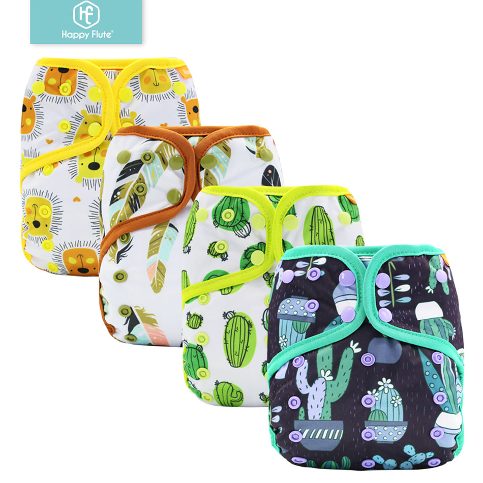Happy Flute 6pcs/set Quick-drying Washable And Reusable AI2 Bamboo Cotton Cloth Diaper Baby Cloth Diaper Nappy One Size Fit All