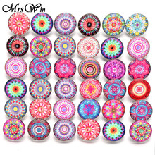 10pcs/lot New Snap Jewelry Vintage Flowers 18mm Glass Snap Buttons Fit Silver Leather Snap Button Bracelet Buttons Jewelry(China)