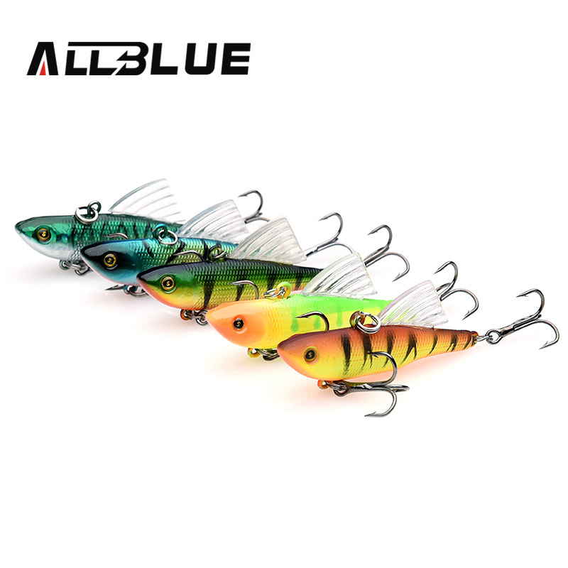 ALLBLUE Multicolor Fishing Lure 10g 55mm Sinking Wobbler VIB Hard Artificial Bait Vibration Variable Depth Ice Fishing Tackle high quality fishing lure fish bait 6 section jointed vib lure 10cm 17g wobbler vibration bait swimbait fishing tackle