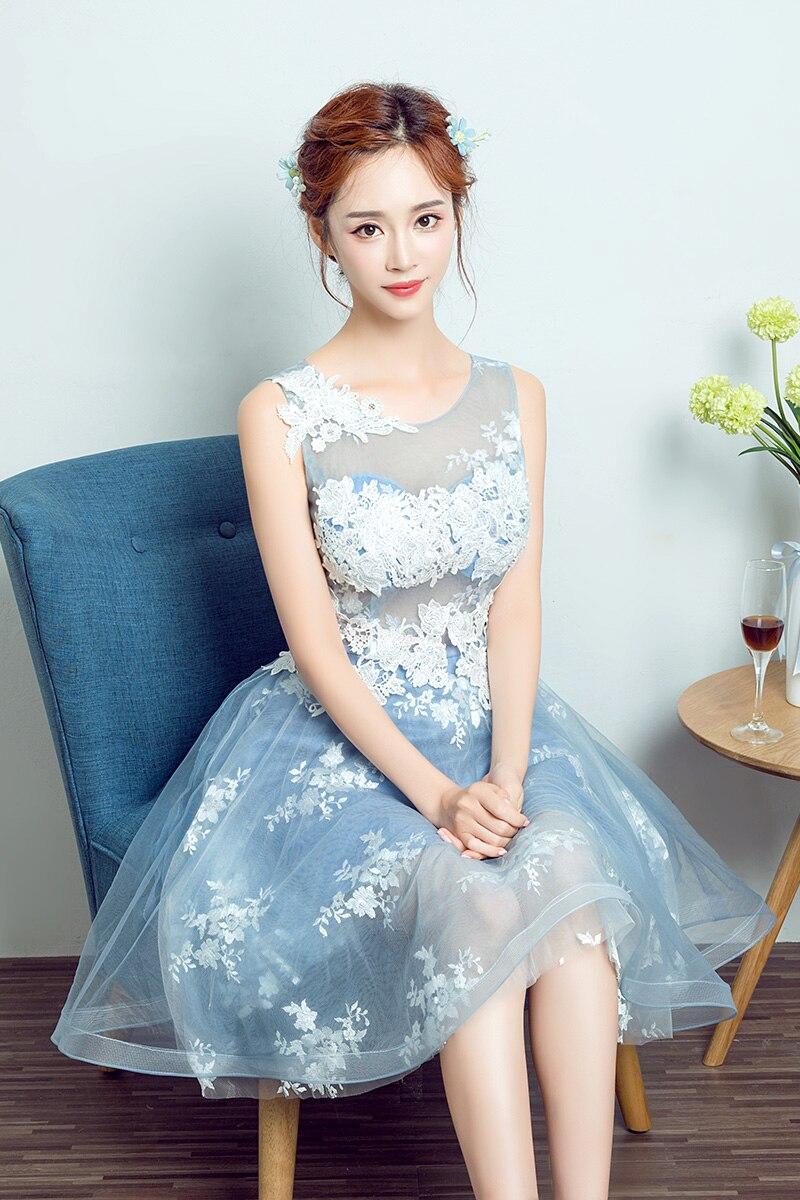 100% Real Images Modest Prom Dress Blue Short Prom Dresses 2017 O ...