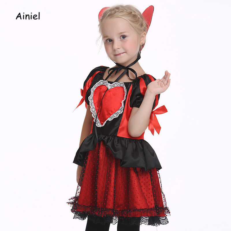 ainiel queen of hearts cosplay costume kids girls princess dress children halloween fancy party suit in girls costumes from novelty special use on