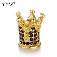5pcs/lot 16 Styles CZ Crown Beads DIY Copper Metal Micro Pave Cubic Zirconia Spacer for Beaded Men Bracelet