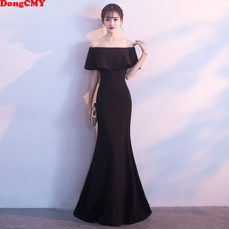 DongCMY Formal Long Black Evening Dress Backless Boat Neck Mermaid Sweep Train Party Women Dresses