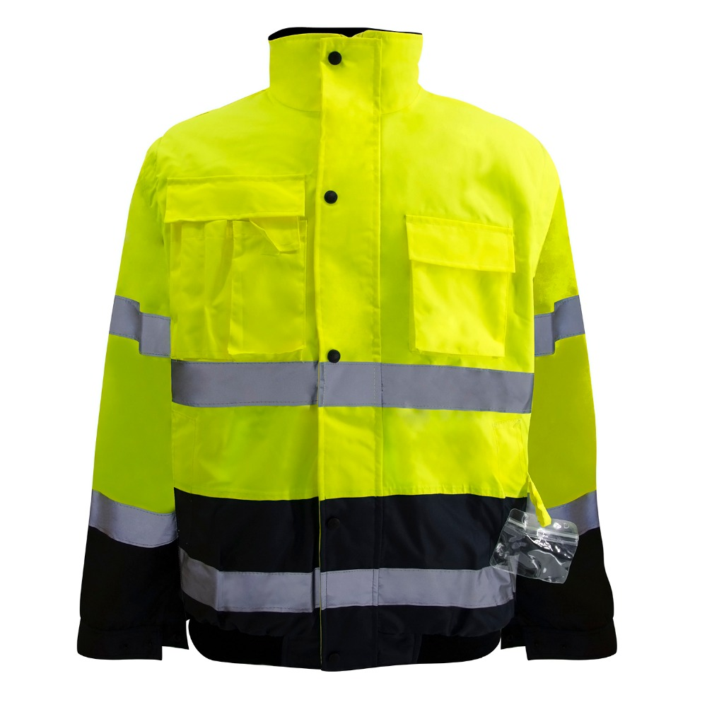 Safety jacket High Visibility Yellow Men Women Outdoor Multi-pockets Tops Workwear Safety Reflective Work Thermal Jacket  Safety jacket High Visibility Yellow Men Women Outdoor Multi-pockets Tops Workwear Safety Reflective Work Thermal Jacket