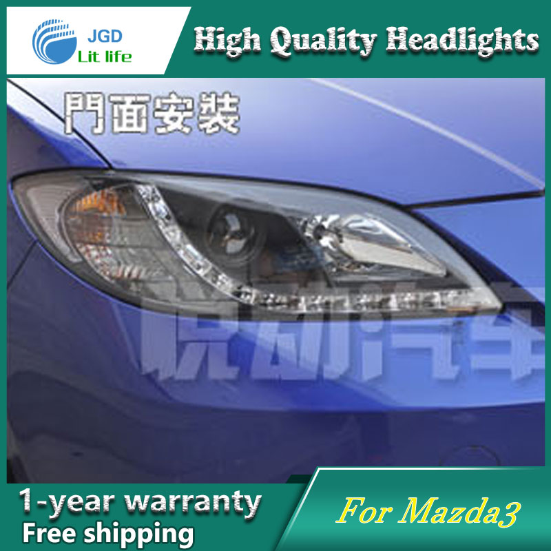 high quality Car styling case for Mazda3 Mazda 3 2006-2012 Headlights LED Headlight DRL Lens Double Beam HID Xenon hireno headlamp for 2012 2016 mazda cx 5 headlight headlight assembly led drl angel lens double beam hid xenon 2pcs