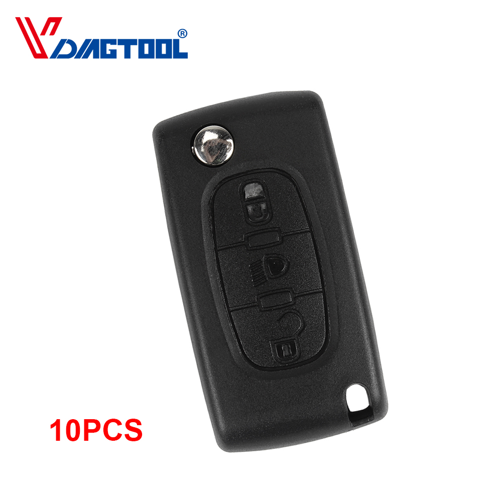 VDIAGTOOL 10pcs 3 Buttons Key Fob Case Car Key Shell With Light Button For Peugeot With Battery Place No Groove Blade(CE0536) image
