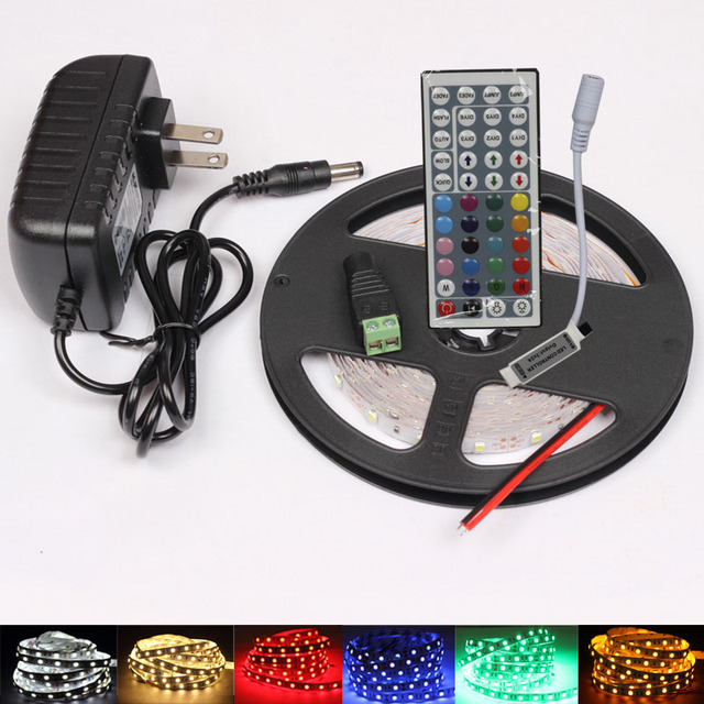 12v 5m 2*5M 600 Led RGB waterproof Strip Light SMD 3528 60LED/M Flexible Ribbon+44key IR Remote Controller+2A power supply