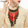 fashion 2017 new arrival spring vintage ethnic alloy chunky bead pendant choker statement necklace for women jewelry wholesale