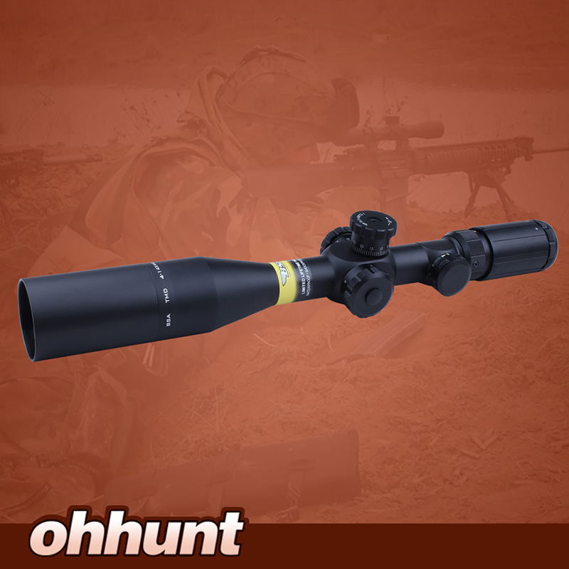 Hunting Shooting Riflescope BSA TMD 4 14X44E First Focal Plane Tactical Optical Sight Red Green Illuminated