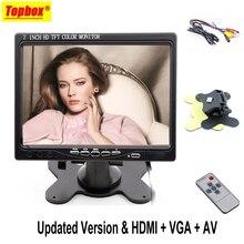7 pulgadas LCD HD 1024*600 de Resolución de Pantalla del Monitor de vista Trasera Del Coche HDMI VGA DVD Pantalla Digital Para la Cámara de Reserva Del Coche + Remote Control