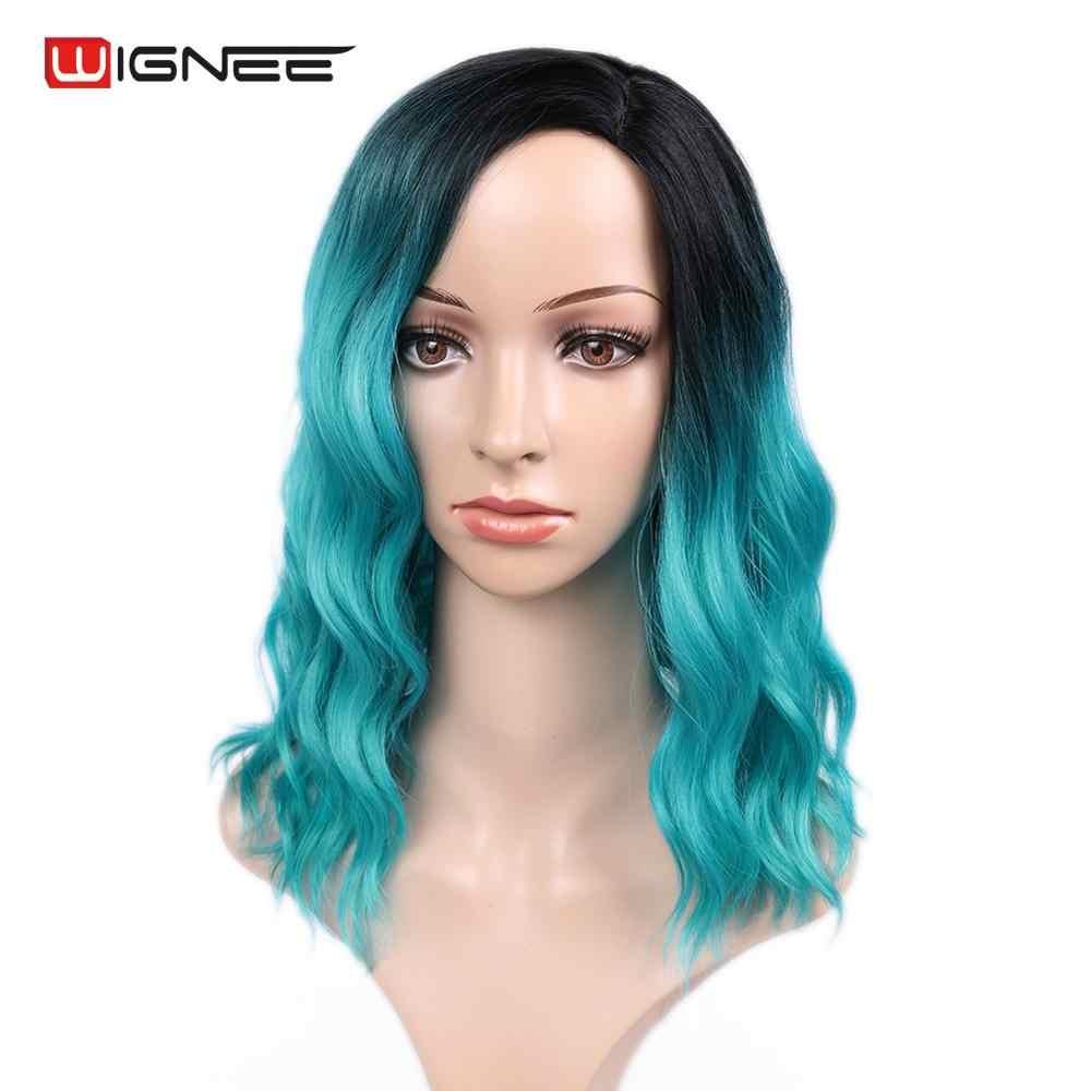 """Wignee Ombre черный к небесно синий парик боковая часть 14 """"Синтетические парики для женщин волна воды парик Синий Косплей термостойкие короткие волосы"""