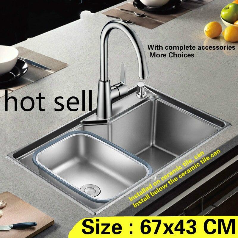 Livraison gratuite ménage mini standard cuisine évier petit durable 0.8mm 304 acier inoxydable vente chaude 67x43 CM