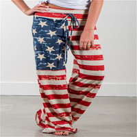 2018 Women Loose Wide Leg Pants Causal Long Straight Trousers American Flag Print Pant Drawstring Trouser Pajama Pants Plus Size