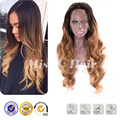Kanekalon 1.5 дюймов спереди кружева парики блестящий ombre мед коричневый парик волнистые прическа природный дешевый парик