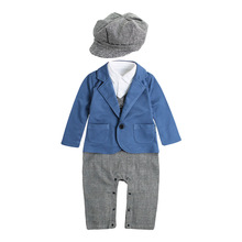 New Autumn Fashion Infant Clothing Baby Suit Baby Boys Clothes Fake 2 Pieces Gentleman Rompers +Hat Children Baby Sets for 0-2 Y