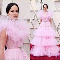 Милое, розовое платье в сетку, Многоуровневое линия вечерние платья, платья для торжества нарядная с высоким, плотно облегающим шею воротни