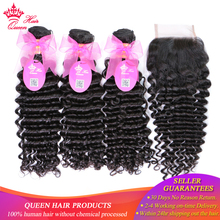 100% Human Brazilian Hair Deep Wave Bundles With Closure Weave Free Part Lace Closure with Hair remy hair Queen Hair Products цена